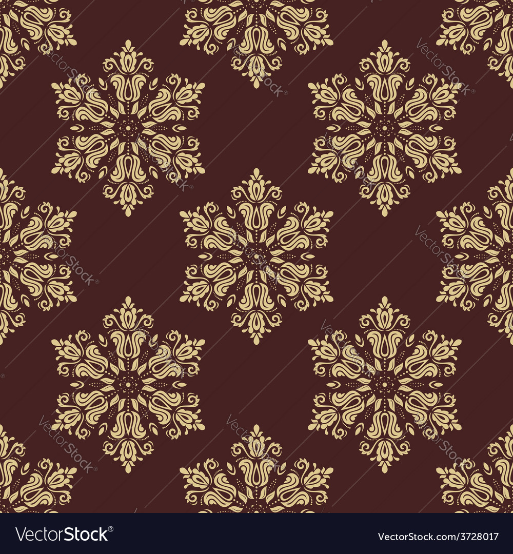 Floral seamless golden pattern orient vector | Price: 1 Credit (USD $1)
