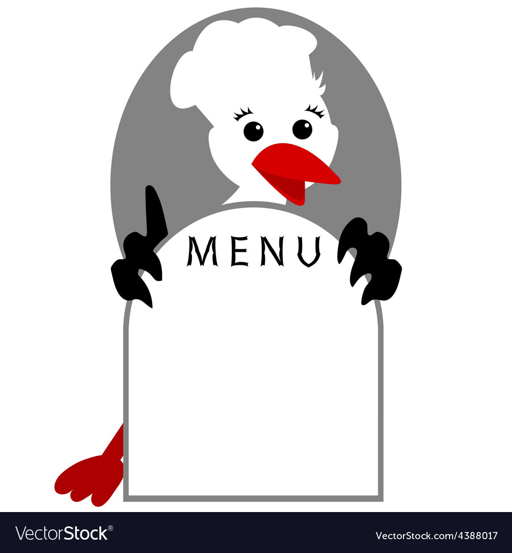 Funny stork bird shows menu vector