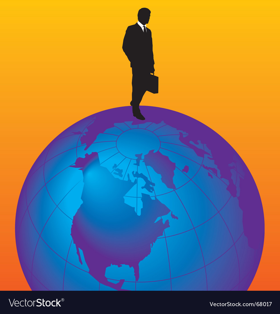 Globe with man vector | Price: 1 Credit (USD $1)