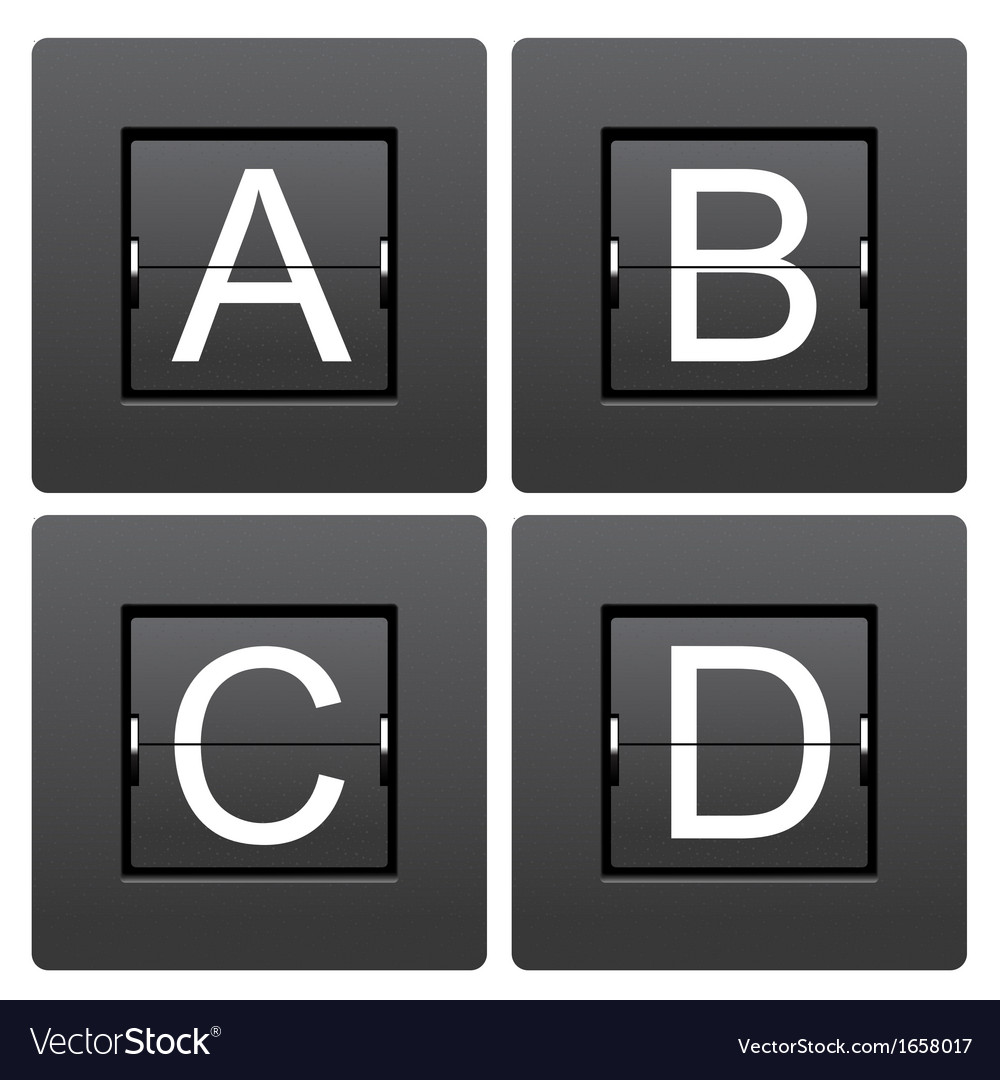 Letter series a to d from mechanical scoreboard vector | Price: 1 Credit (USD $1)