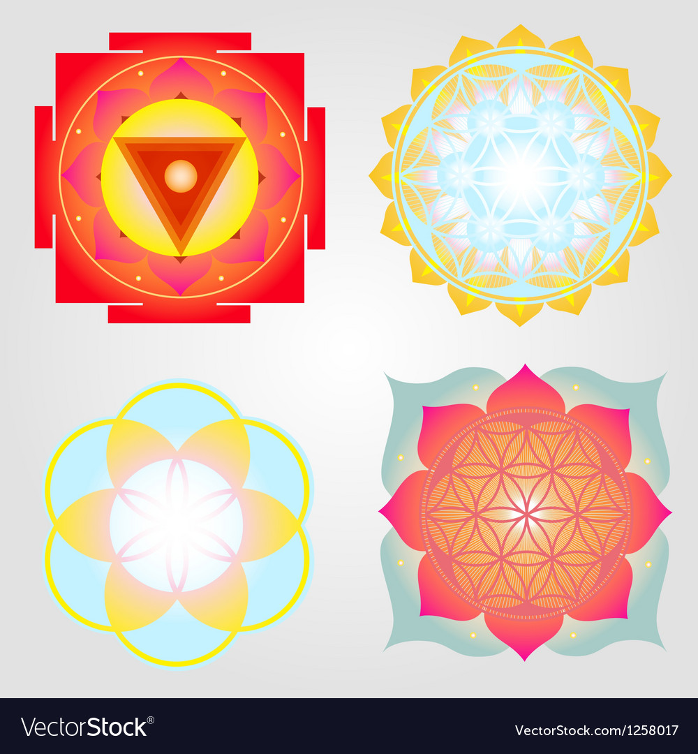 Mandalas and yantra set vector | Price: 1 Credit (USD $1)