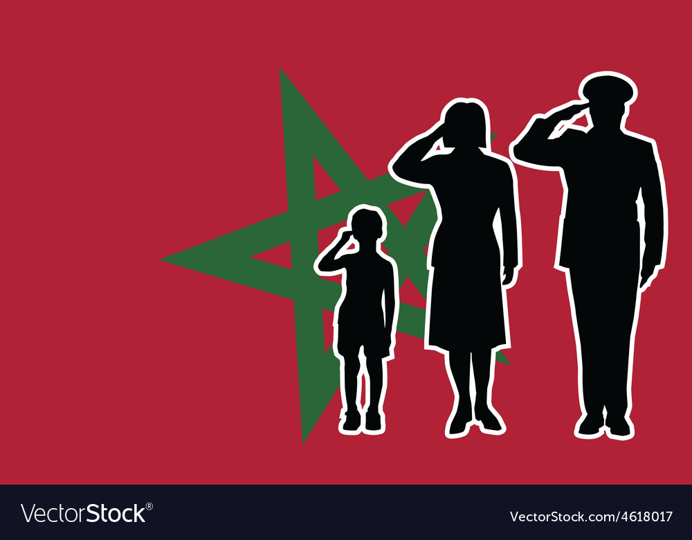 Morocco soldier family salute vector | Price: 1 Credit (USD $1)