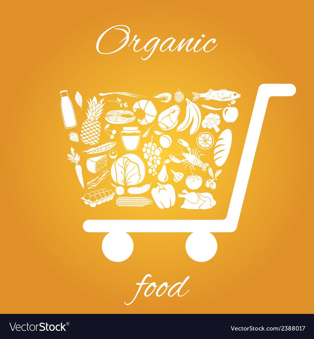 Organic food cart vector | Price: 1 Credit (USD $1)