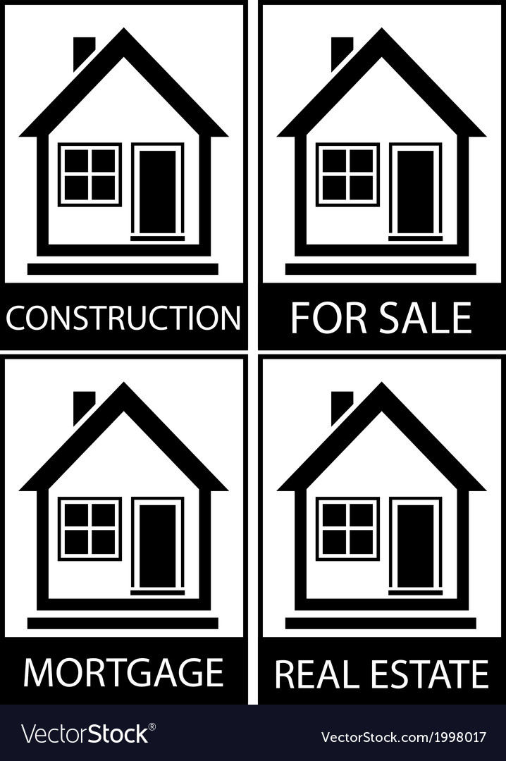 Set home for sale construction and mortgage vector | Price: 1 Credit (USD $1)