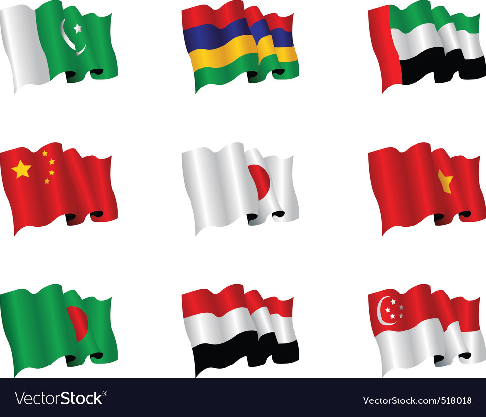 Asian flags vector | Price: 1 Credit (USD $1)