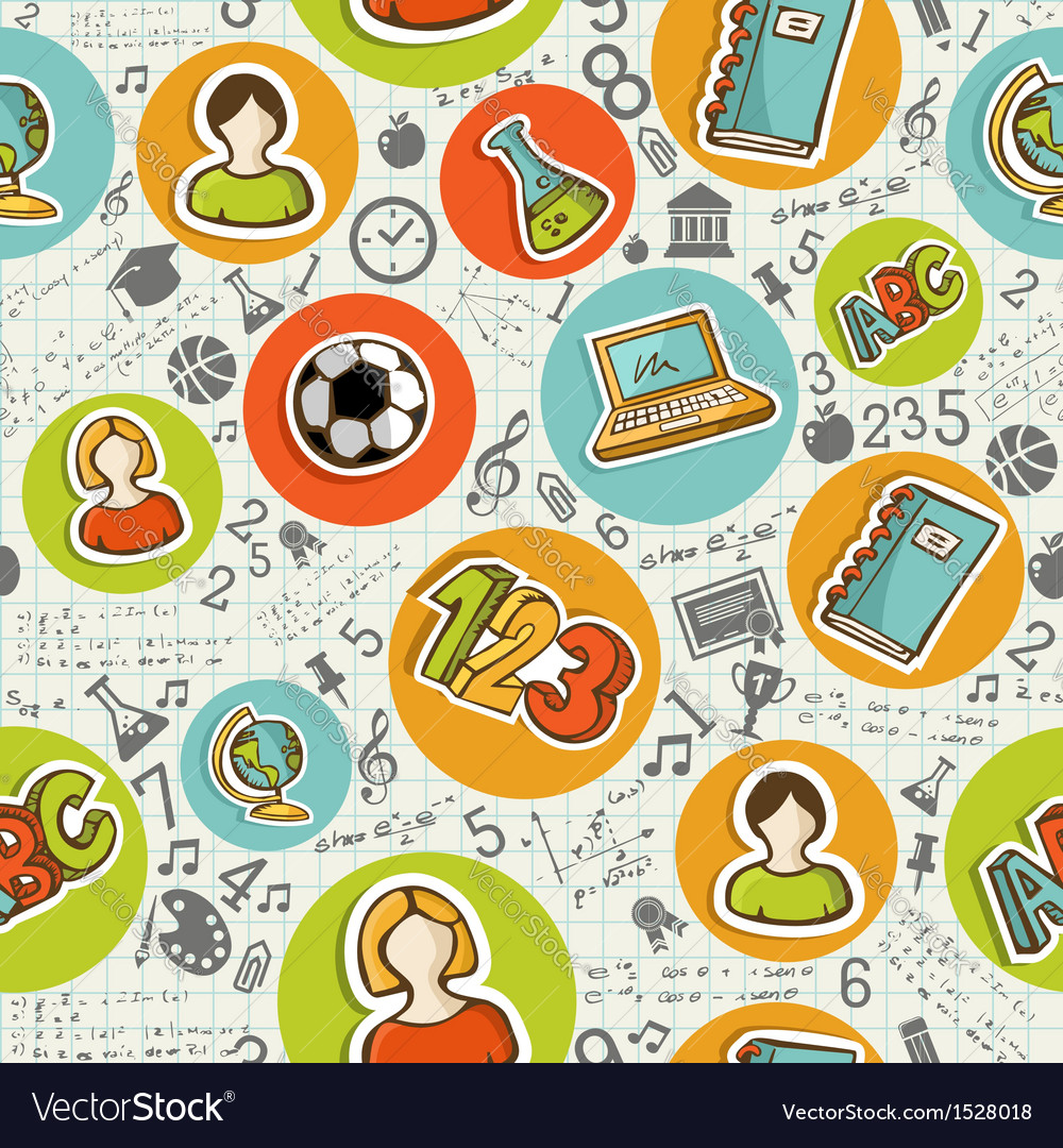 Back to school icons education seamless pattern vector   Price: 1 Credit (USD $1)