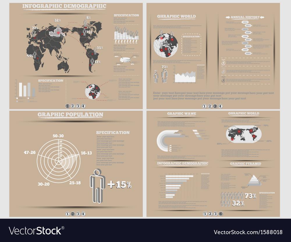 Infographic demographics website brown vector | Price: 1 Credit (USD $1)