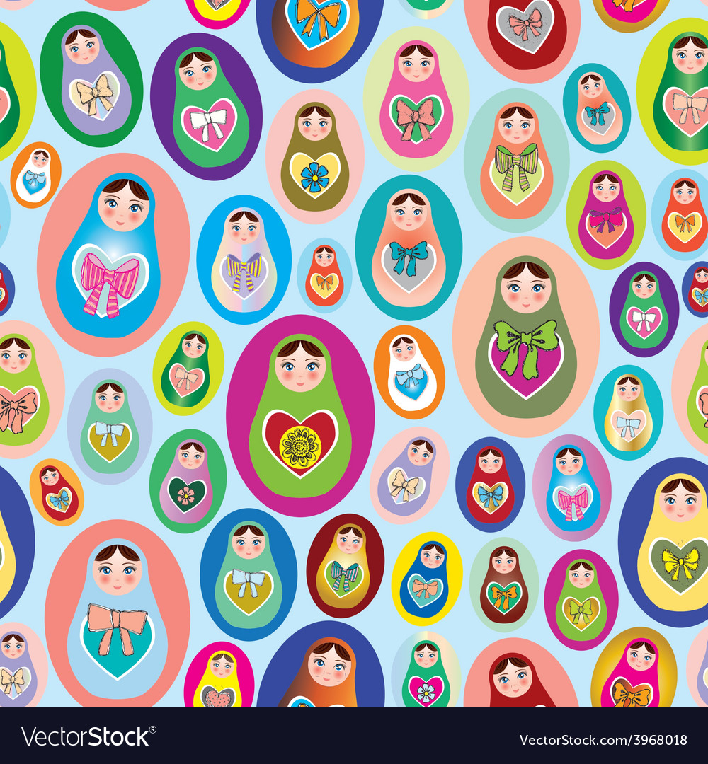 Seamless patten with russian dolls on a blue vector | Price: 1 Credit (USD $1)