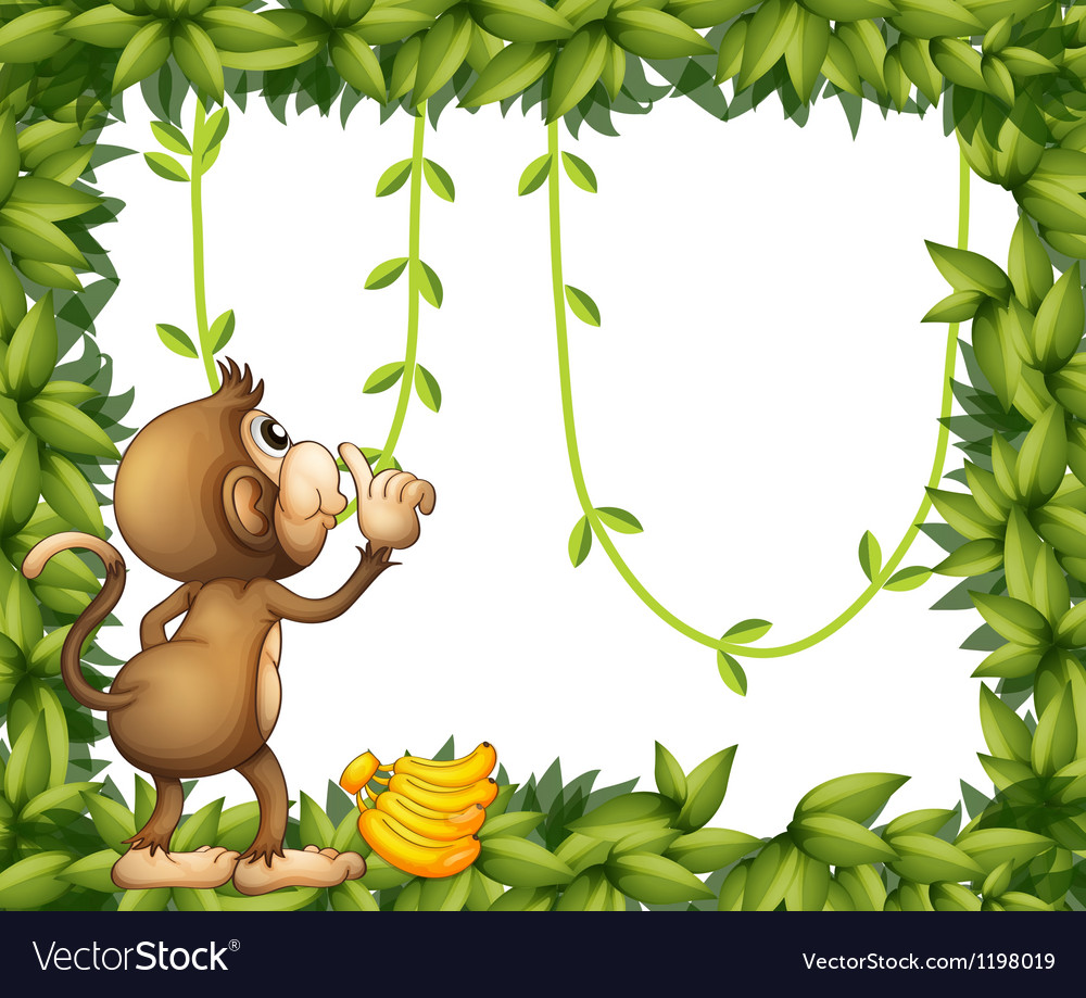 A monkey with banana and the green frame vector | Price: 1 Credit (USD $1)