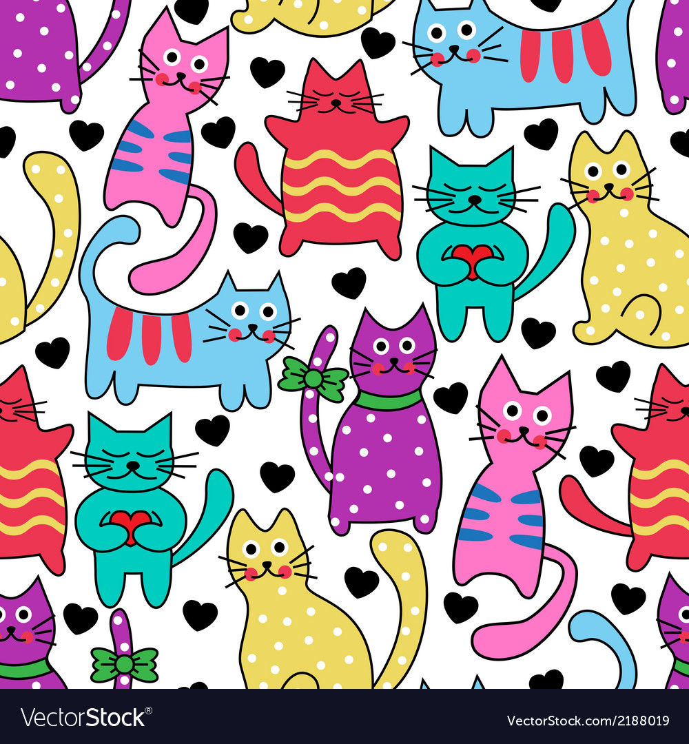 Cartoon seamless colorful cats vector | Price: 1 Credit (USD $1)