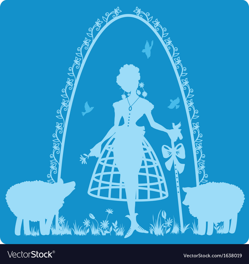 Charming shepherdess with a staff vector | Price: 1 Credit (USD $1)