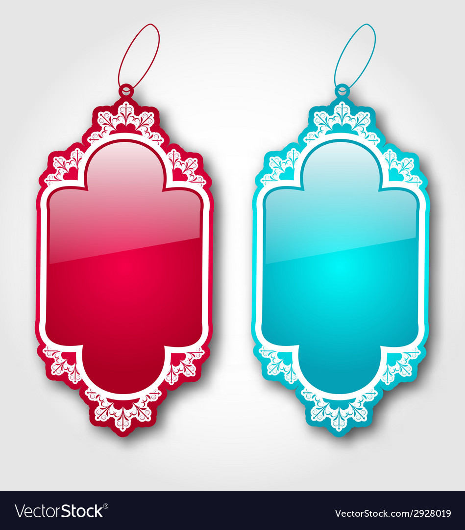 Collection blank badges isolated on white vector | Price: 1 Credit (USD $1)