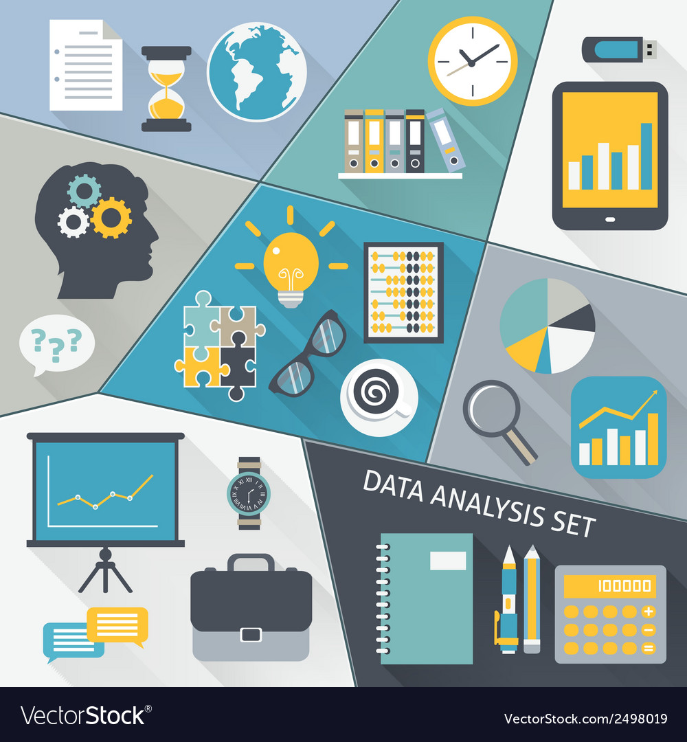 Data analysis flat set vector | Price: 1 Credit (USD $1)