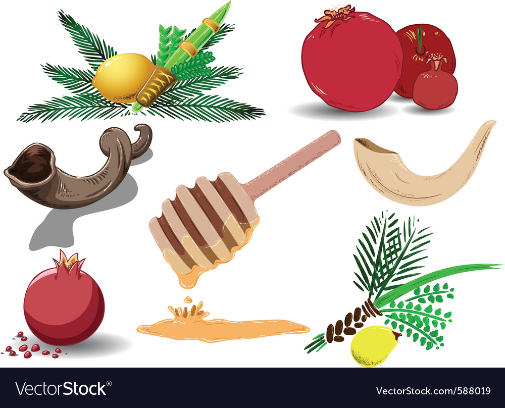 Jewish holidays symbols pack vector | Price: 3 Credit (USD $3)