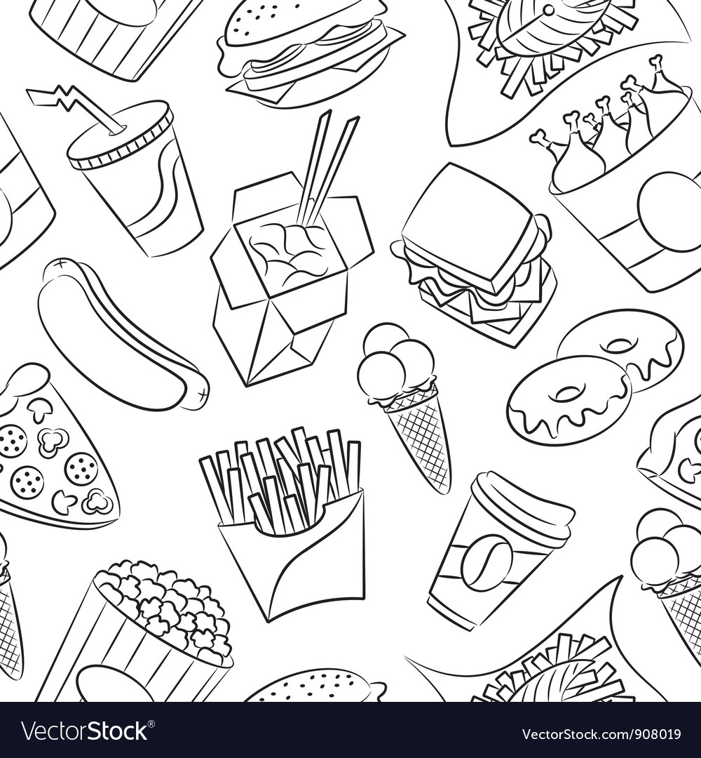 Junk food seamless pattern vector | Price: 1 Credit (USD $1)