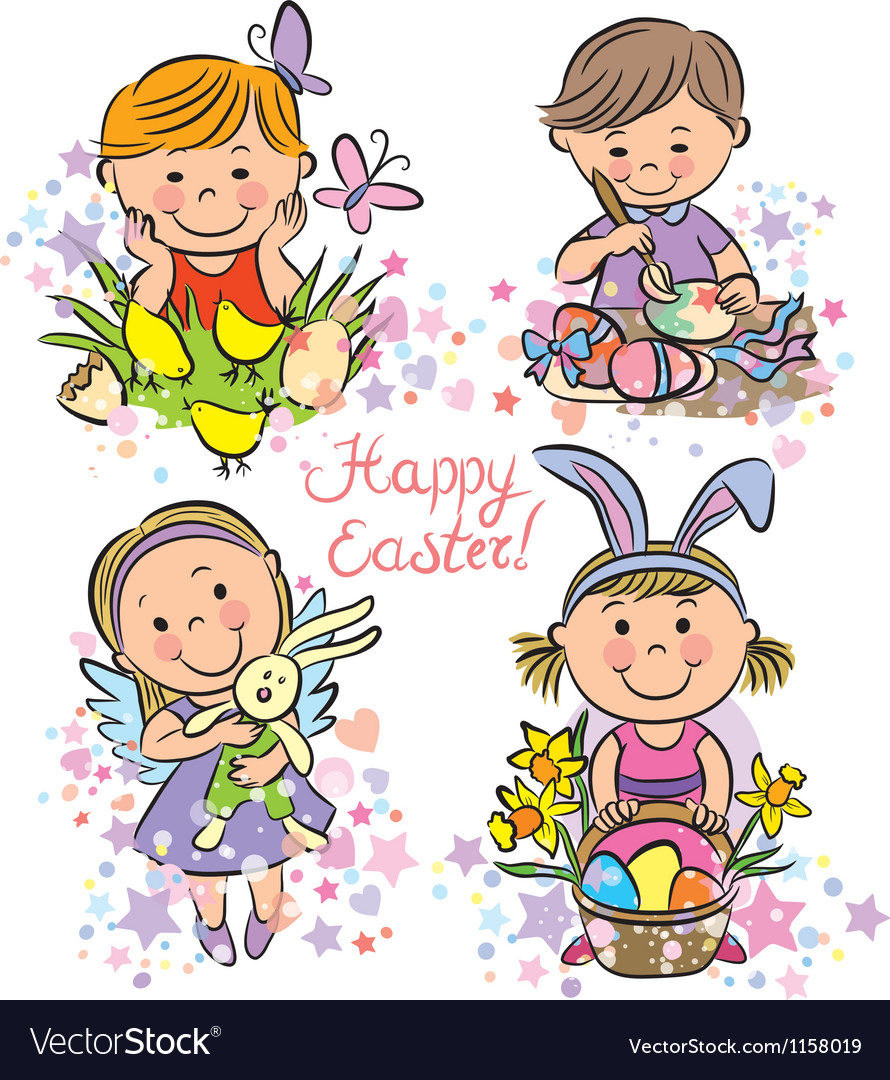 Kids celebrate easter vector | Price: 1 Credit (USD $1)