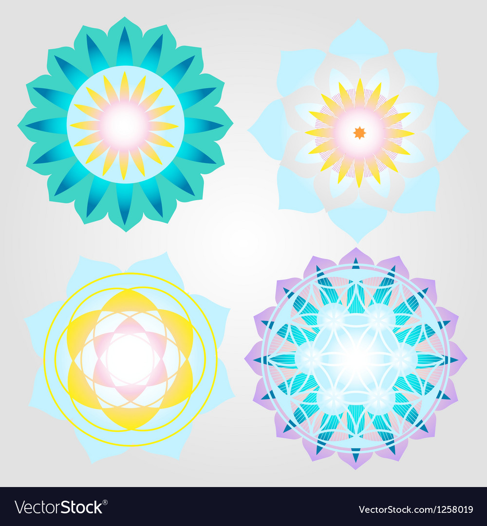 Mini mandalas icons set vector | Price: 1 Credit (USD $1)