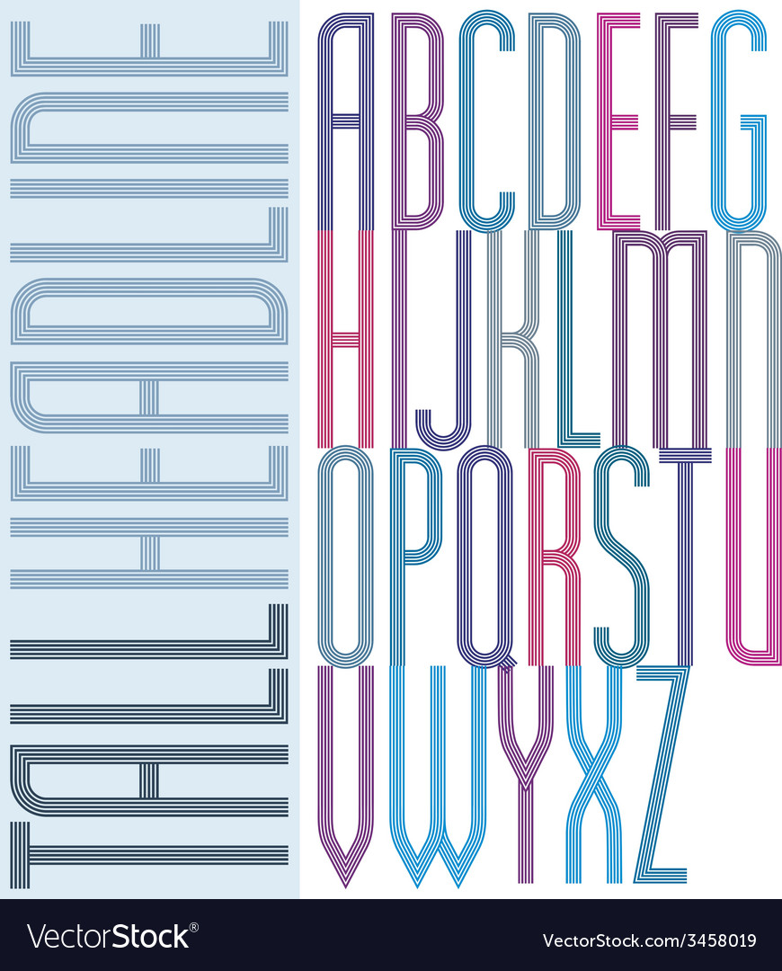 Poster condensed colorful font striped compact vector   Price: 1 Credit (USD $1)