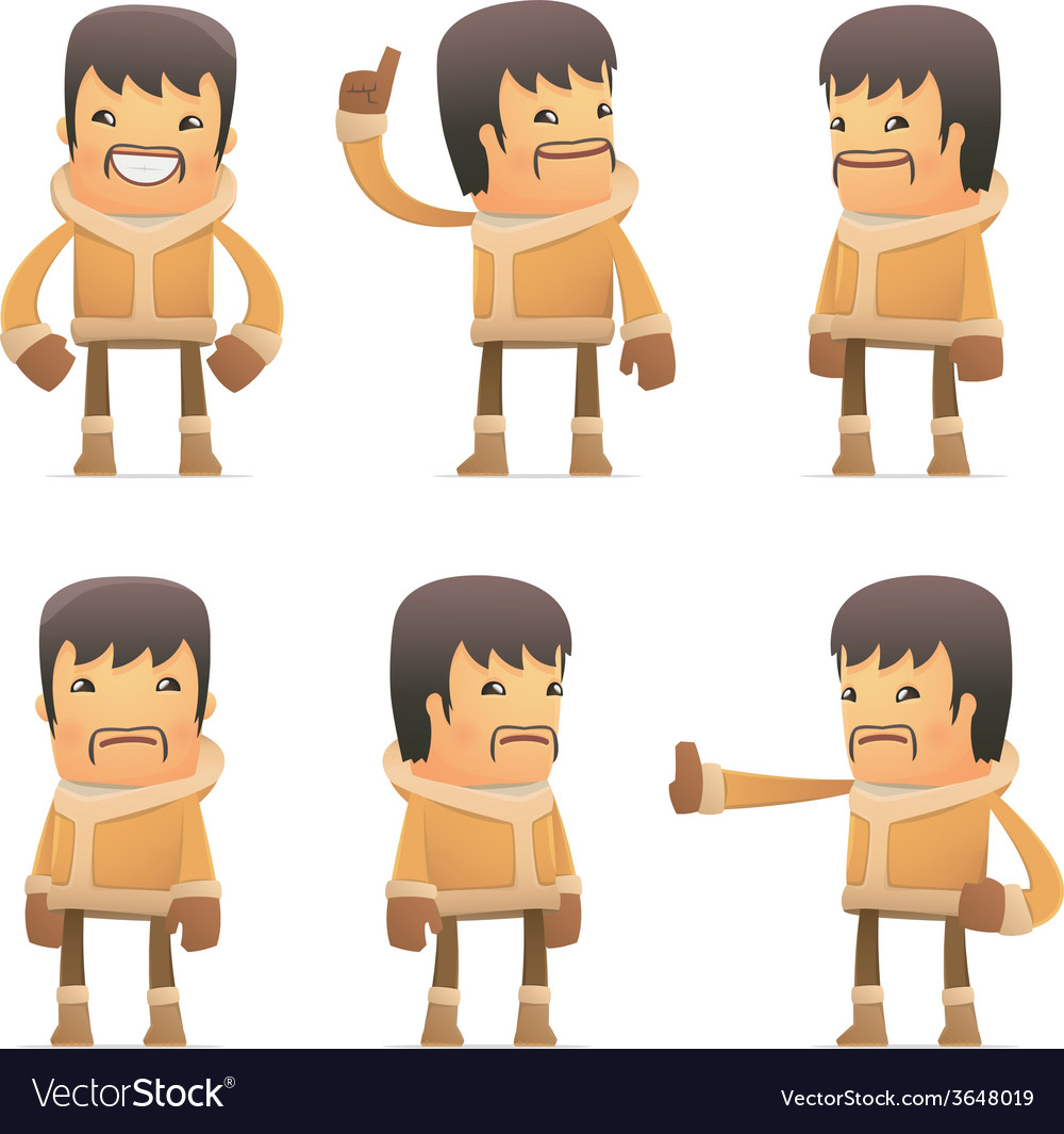 Set of eskimo character in different poses vector | Price: 1 Credit (USD $1)