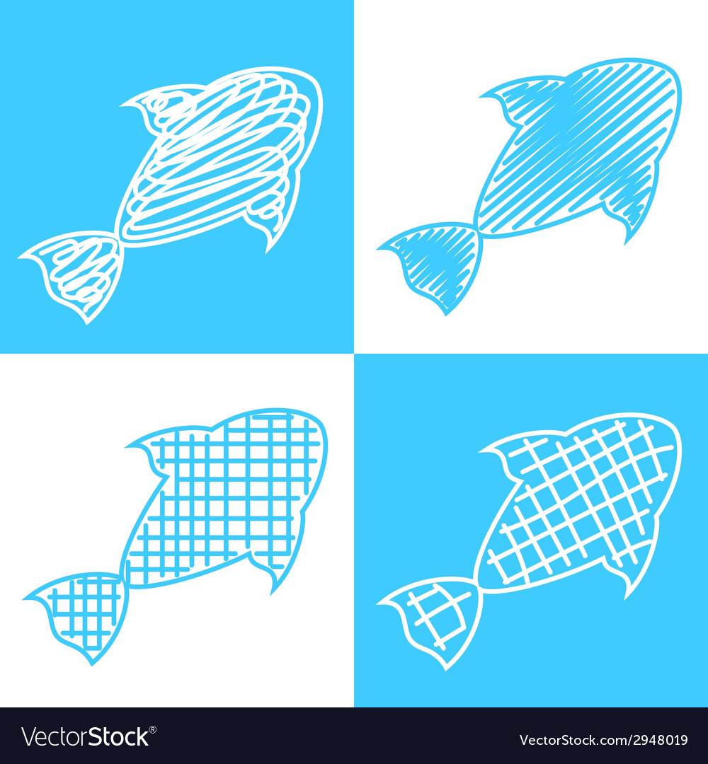 Set of hand drawn fish vector | Price: 1 Credit (USD $1)