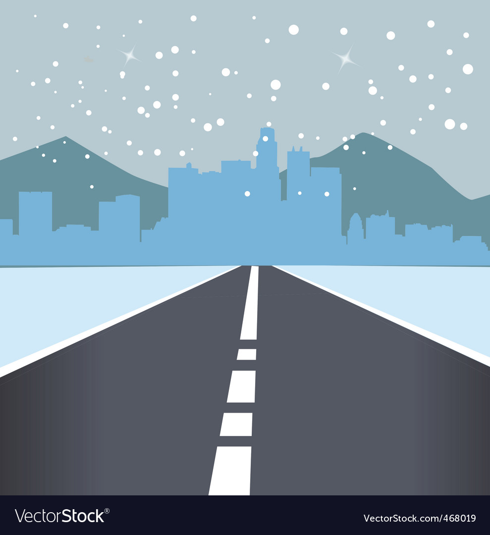 Snowing road vector | Price: 1 Credit (USD $1)