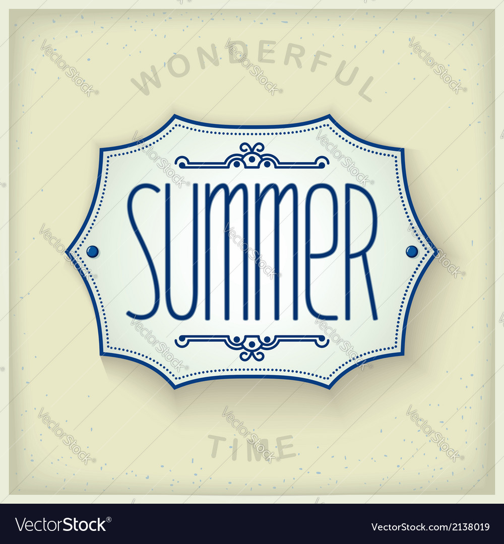 Summer vintage plate vector | Price: 1 Credit (USD $1)