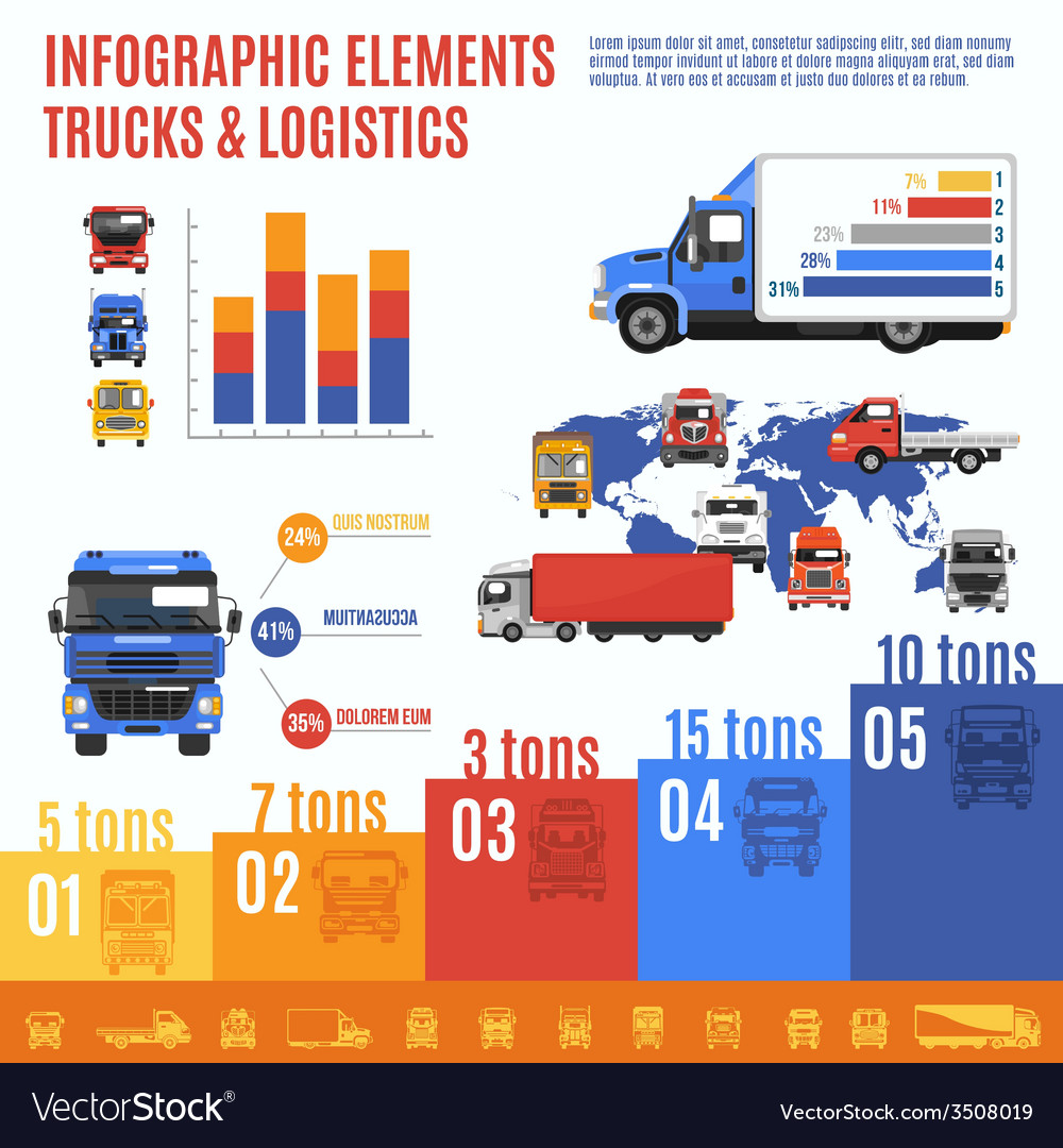 Truck infographic set vector | Price: 1 Credit (USD $1)