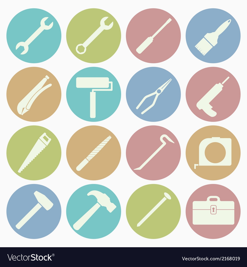 White icons tool vector | Price: 1 Credit (USD $1)