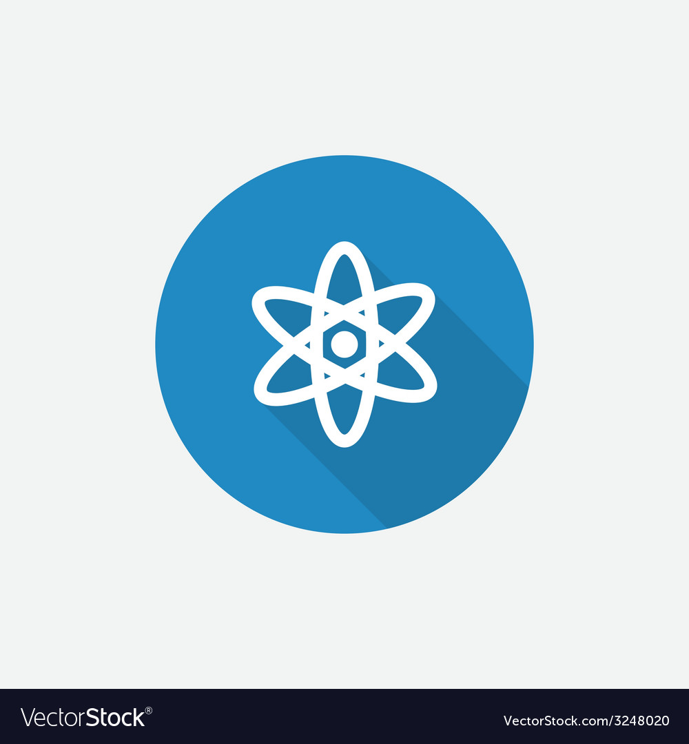 Atom flat blue simple icon with long shadow vector | Price: 1 Credit (USD $1)