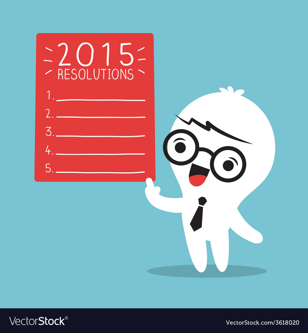 Businessman cartoon with 2015 new year resolutions vector | Price: 1 Credit (USD $1)