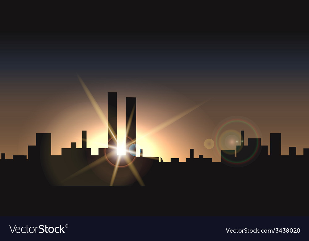 City sunset vector | Price: 1 Credit (USD $1)