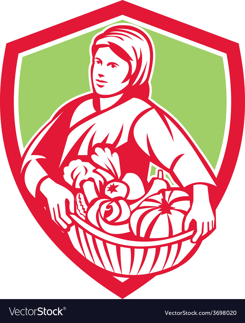 Female organic farmer basket harvest shield retro vector | Price: 1 Credit (USD $1)