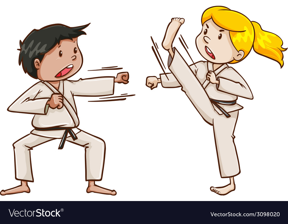 Kids doing martial arts vector | Price: 1 Credit (USD $1)