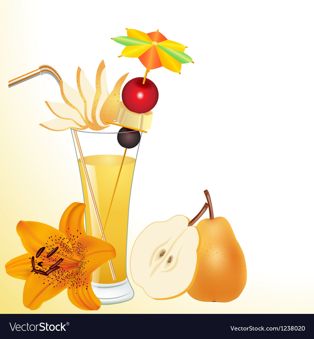 Pear juice in a glass with a flower vector | Price: 3 Credit (USD $3)