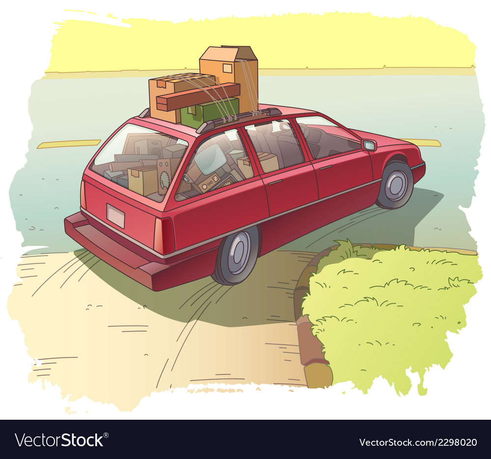Red station wagon with a cargo vector | Price: 3 Credit (USD $3)