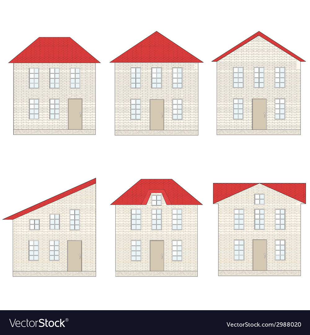 Set of brick houses with different red tile roofs vector | Price: 1 Credit (USD $1)