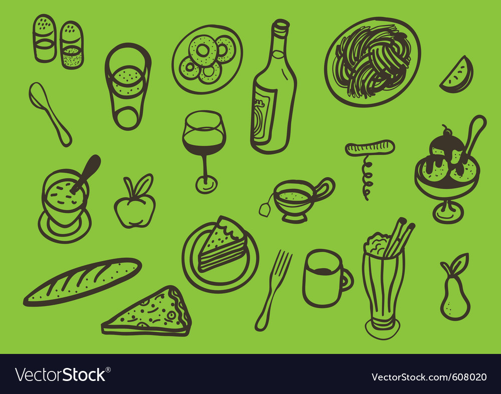 Set of served food vector | Price: 1 Credit (USD $1)