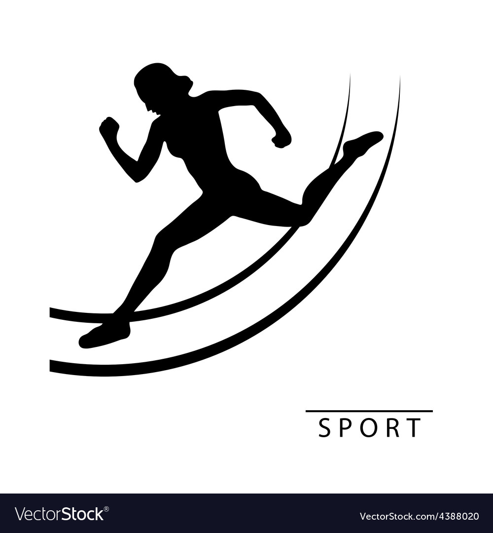 Silhouette of an athlete woman run around logo vector | Price: 1 Credit (USD $1)