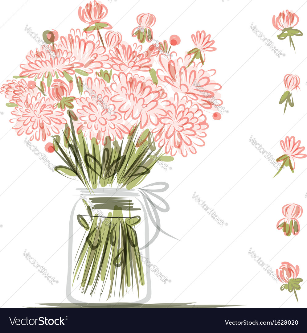 Vase with pink flowers sketch for your design vector | Price: 1 Credit (USD $1)