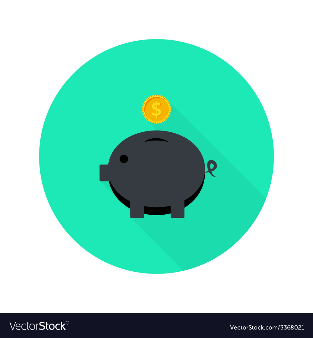 Black money pig with dollar coin flat icon with vector | Price: 1 Credit (USD $1)