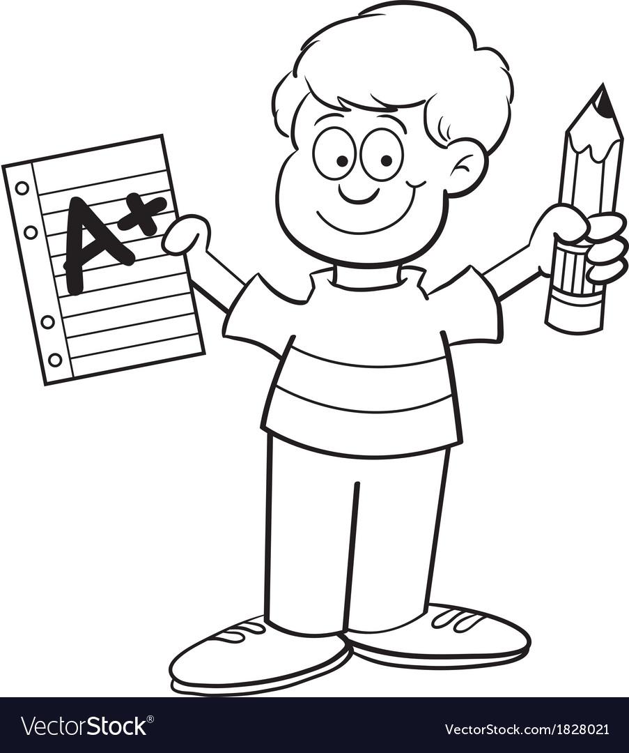 Cartoon boy holding a pencil vector | Price: 1 Credit (USD $1)