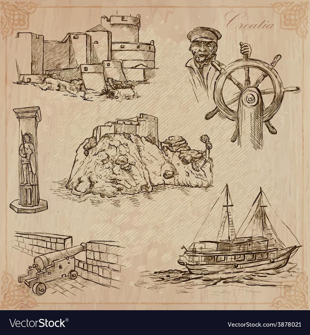 Croatia hand drawn pack vector | Price: 1 Credit (USD $1)