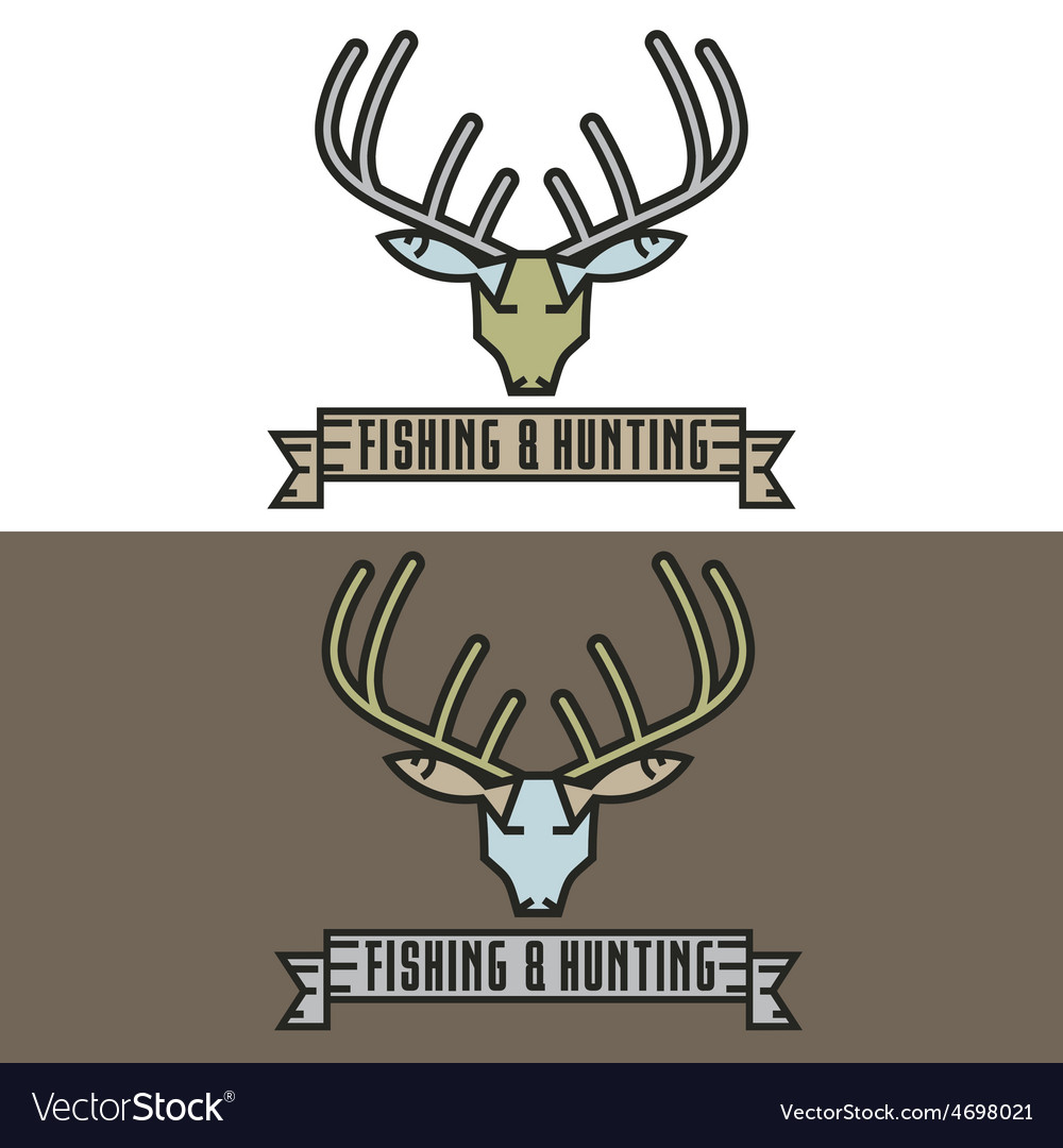 Fishing and hunting line craft vintage label vector | Price: 1 Credit (USD $1)