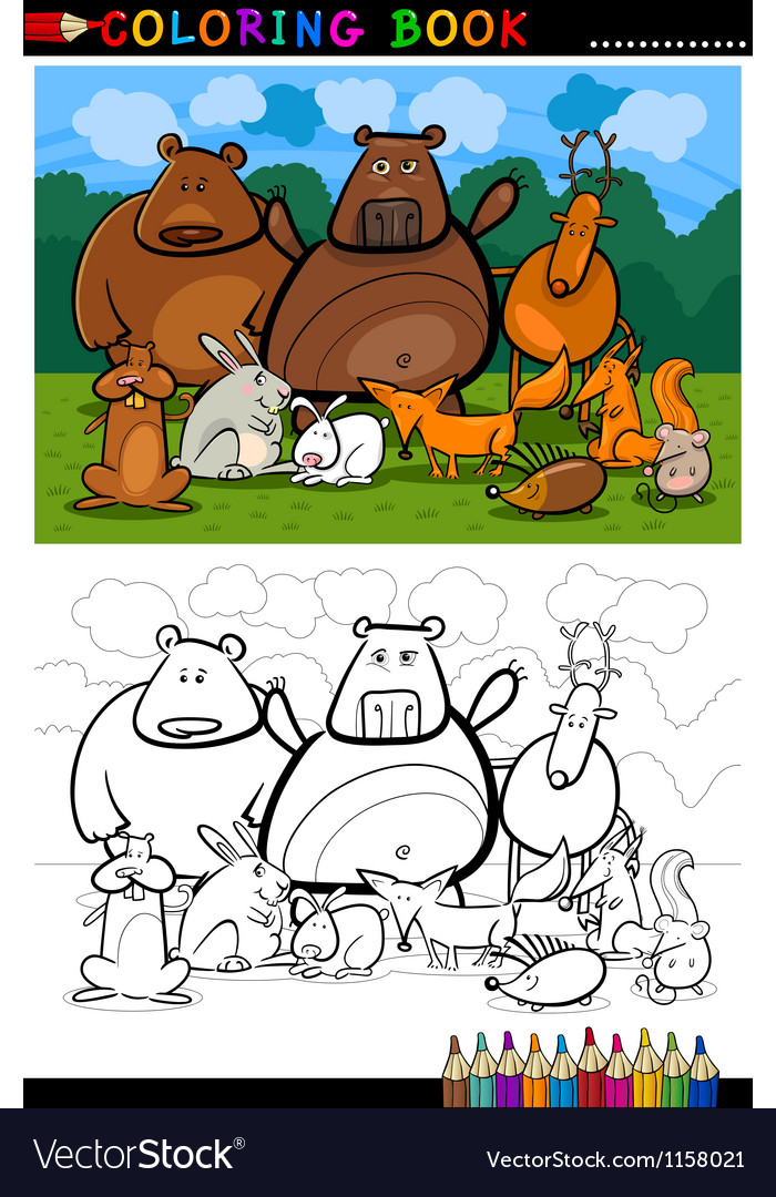 Forest wild animals cartoon for coloring book vector | Price: 1 Credit (USD $1)