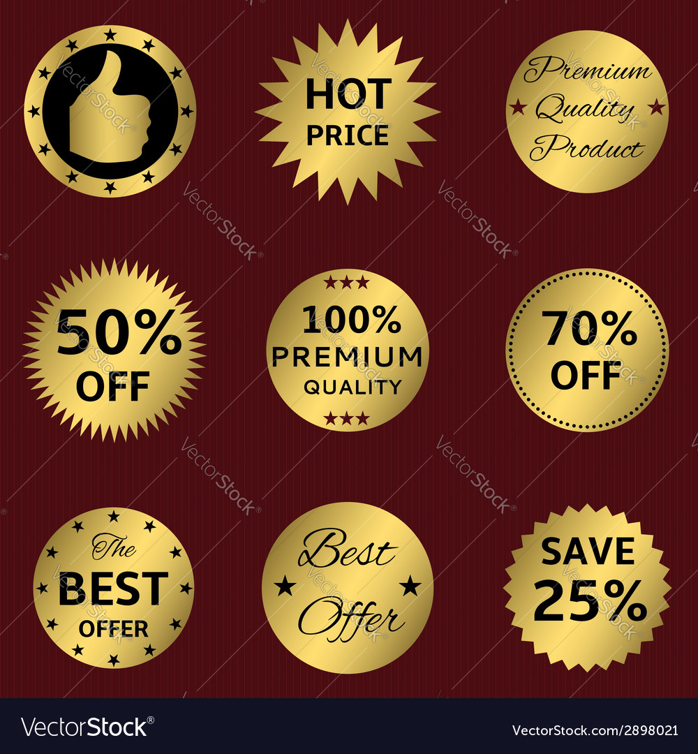 Golden labels on the red vector | Price: 1 Credit (USD $1)