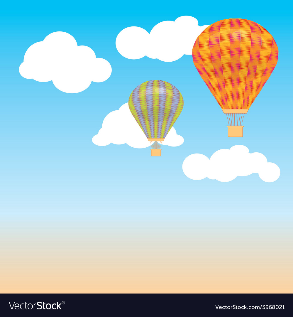 Hot air balloon and clouds in the sky back vector | Price: 1 Credit (USD $1)