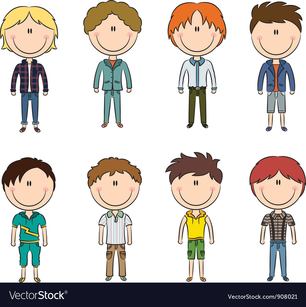 Modern trendy boys vector | Price: 3 Credit (USD $3)