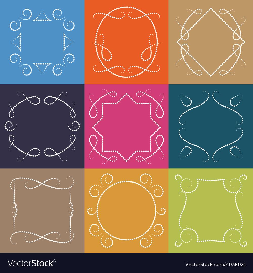 Set of retro monograms elegant outline borders and vector | Price: 1 Credit (USD $1)