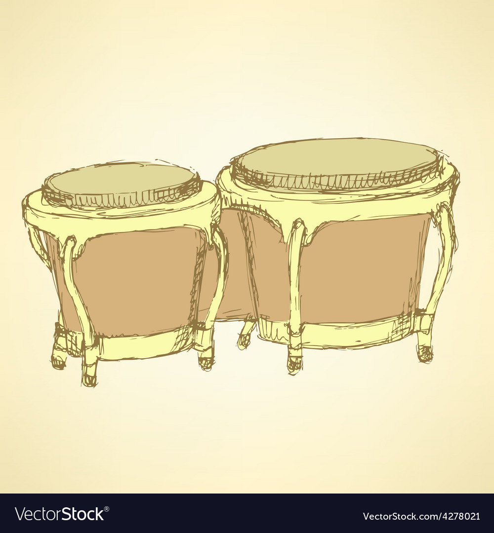 Sketch bongos musical instrument vector | Price: 1 Credit (USD $1)