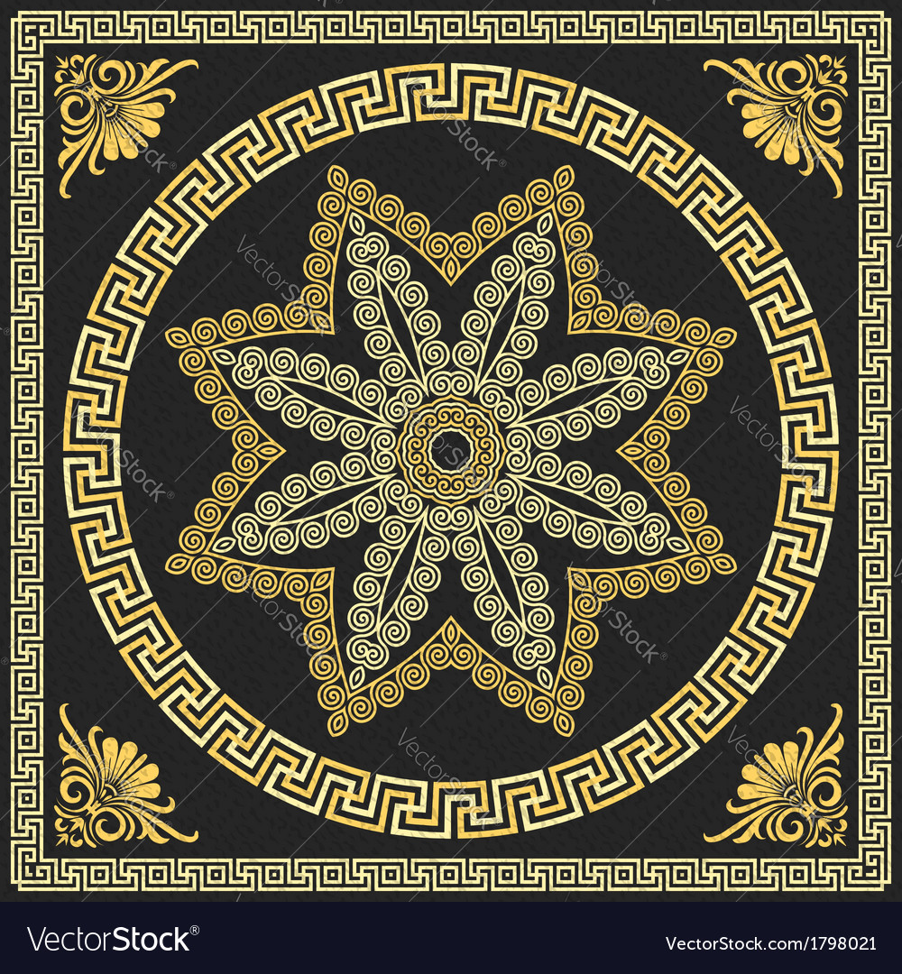 Vintage golden square and round greek ornament vector | Price: 1 Credit (USD $1)
